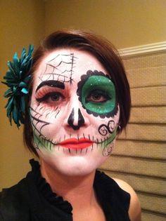 Sugar Skull Makeup Green sugar skull, day of the dead, dios de Los Muertos,  sugar skull face painting by Rachel's face paint in KY