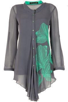 Grey and mint green thread embroidery top available only at Pernia's Pop-Up Shop.