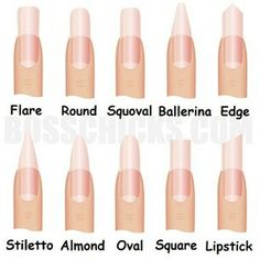 I would only wear Flare or Square. Round and Squoval are okay too. Ballerina, Stiletto, Almond and Edge would make great weapons but pointed nails in general creep me out!