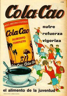 ColaCao Vintage Advertising Posters, Vintage Travel Posters, Vintage Advertisements, Retro Posters, Vintage Labels, Vintage Ads, Vintage Prints, Vintage Food, Retro Recipes