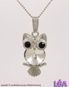 LBA: Animal / Bird Lover - Silver Tone OWL Halloween Theme New Pendant Necklace #LoveBirdyAccessoriesLBA #Pendant
