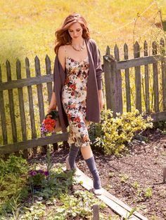 Slip Dress: in a feminine print. Love it with the cardigan. Add Docs for that 90's vibe.