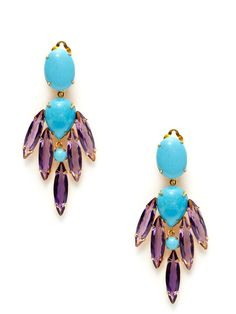 Turquoise & Amethyst Multi-Shape Drop Earrings by Bounkit at Gilt $245