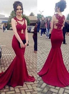 02505b11d81b22 Charming Mermaid Dark Red Formal Dresses, Evening Gowns, Red Prom Dress 2018