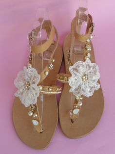 Handmade leather sandals with French white lace in shape flower, metallic daisies with swarovski rhinestones, swarovski fancy stones and glass pearls