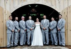 bride with the guys- light grey suits