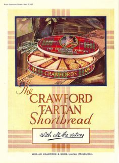 Crawford's Tartan Shortbread advert, 1937 by mikeyashworth, via Flickr