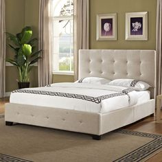Standard Furniture Madison Square Upholstered Platform Bed in Linen - 55691 from BEYOND Stores