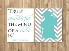 Star Wars Master Yoda Quote Turquoise Jedi by ThumbelinaArtStudio