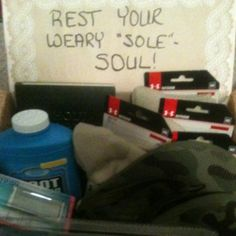 """A Care Package Idea or Theme    My Marine is always saying how his feet hurt!    Rest your weary """"sole""""- soul care package. Contents include under armour boot socks , manicure set for men , foot powder, shower shoes, boot cushions, foot lotion, & a bible"""
