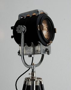 1940's Vintage Theater Stage Light Spotlight -  Industrial Steampunk Loft Tripod Lamp