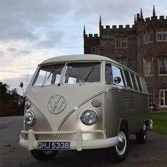 We love Rusty the camper van from Rusty and Roses, based in Berkshire. You can use the champagne coloured VW Camper to transport you to your wedding, or even as a photo booth for some amazing wedding photo opportunities. There are a range of packages avai Volkswagen Bus, Vw T1, Wedding Car Decorations, Wedding Cars, Split Screen, Bus Camper, Campers, Wedding Transportation, Vw Cars