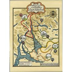 Map of Loch Lomond: Genealogy maps of Scotland: Border Art - Our genealogy clan maps of Scotland and Ireland and Irish and Scottish clan crest merchandise will help you discover the lands of your ancestors and the origins of your clan or family name.