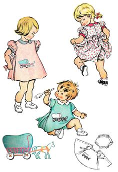 Child's Apron Pattern 1950s Back Button Waist Tie Dress Panties Vintage Children's Sewing McCall's Girls Size 1 by SelmaLee on Etsy