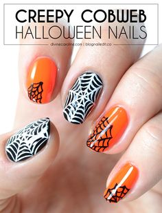 These  creepy cobweb Halloween nails are spooky! Find the full tutorial here. #divinecaroline #nailart