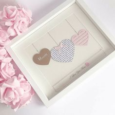 """This is the Handmade personalised Mum/Mummy Gift. If you are looking for something different for Mum to be/ New mum then this is the one you,ve been searching for.  The mummy gift is designed to be a personalised gift, the large heart contains Word Art of your choice, in the case of the photos included, they have chosen the song, """"You are my sunshine, my only sunshine"""" but you can have whatever wording is personal to you.  In the brown card, the word """"mum"""" is cut out, but you"""