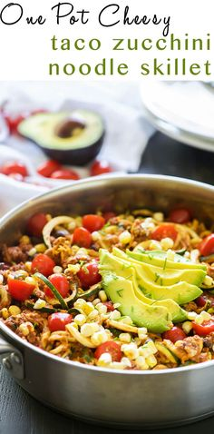 One Pot Cheesy Taco Zucchini Noodle Skillet is a healthy spin on Taco Tuesday! Zucchini noodles, enchilada spiced ground turkey, black beans, corn and creamy avocado help makeover this dish! Mexican Food Recipes, Dinner Recipes, Healthy Recipes, Dinner Ideas, Fast Recipes, Healthy Dishes, Healthy Meals, Healthy Food, Easy Meals