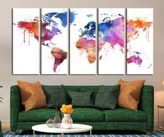 Pastel Colors Watercolor World Map Canvas Art, Pinky World Map Print for Home Decor No:034