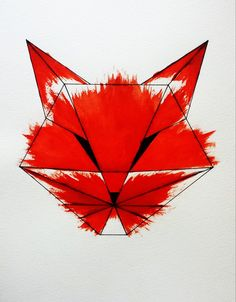 Cunning Fox. Geometric, origami. Akvarell / Watercolor Art by Shoshie Norén. Available at:http://www.redbubble.com/people/shoshienoren/works/16324920-cunning?ref=recent-owner