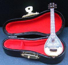 1:12th Scale Wooden Mandolin & Black Case Dolls House Miniature Instrument 153  | eBay