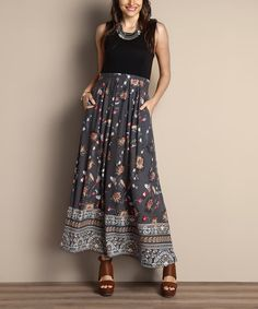 Look what I found on #zulily! Gray Floral Tank Maxi Dress - Plus #zulilyfinds