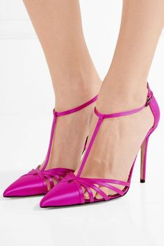 Heel measures approximately 100mm/ 4 inches Fuchsia satin Buckle-fastening ankle strap Designer color: Candy Made in Italy