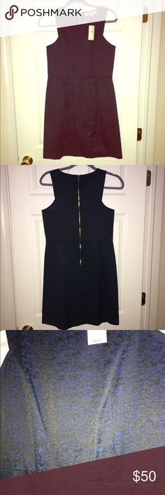 NWT! Ann Taylor Loft Blue & Black Dress, 6 Petite NWT! Beautiful dress, I love how it cuts into the back of the top to give it a dressier look. The zipper running down the back also adds to the design. It is a 6 Petites and is 62% cotton, 35% polyester and 3% spandex. LOFT Dresses Midi
