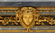 Detail of a marble side table gilded by the 18th-century French artisan Pierre Gouthière.  Credit Michael Bodycomb/Frick Collection