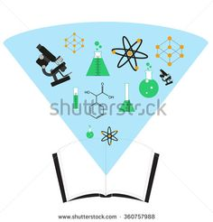 vector illustration ofscience book icon. book with holographic cloud inclusive sience symbols  - stock vector