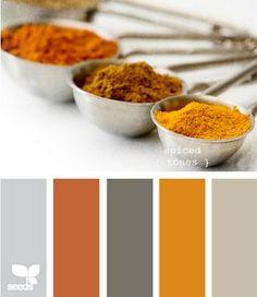 orange and gray, living room inspiration