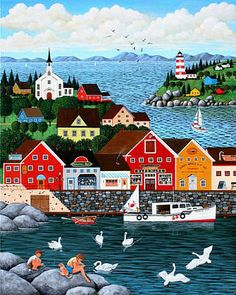 Swan's Cove art print by Wilfrido Limvalencia. Our prints are produced on acid-free papers using archival inks to guarantee that they last a lifetime without fading or loss of color. All art prints include a 1 Fine Art Amerika, Illustrations, Illustration Art, Seascape Art, Canvas Prints, Art Prints, Naive Art, Beach Art, Landscape Art