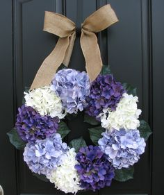 Lavender Hydrangea Wreath - Summer Hydrangeas - Front Door Wreaths. $80.00, via Etsy.