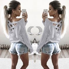 Women Long Sleeve Casual Loose Tops Blouse Long T-shirt New Fashion #Unbranded #CropTop #Casual