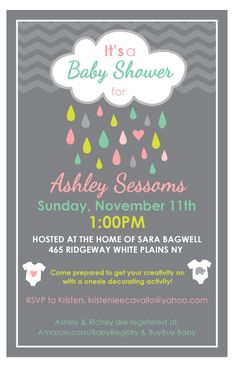 Any color april showers baby shower sprinkle birthday 1st having one rain shower invite april showers bring may flowers perfect kellie filmwisefo
