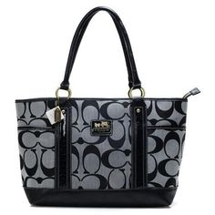 #ChooseEnjoyBags-COACH You Never Met The Famous Coach Madison In Signature Large Grey Totes ANH Like That In Here!