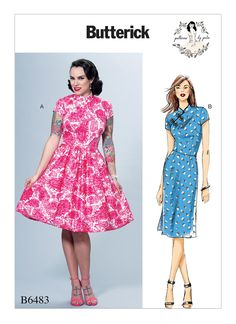 B6483 | Misses' Dresses with Mandarin Collar and Skirt Options Sewing Pattern | Butterick Patterns
