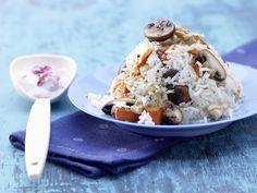 Kürbis-Champignon-Reis - mit Preiselbeerdip - smarter - Kalorien: 493 Kcal - Zeit: 20 Min. | eatsmarter.de Sieht dieses Gericht mit Reis nicht köstlich aus?