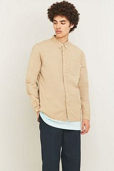 Shore Leave by Urban Outfitters Long Sleeve Overdyed Sand Poplin Shirt - Urban Outfitters