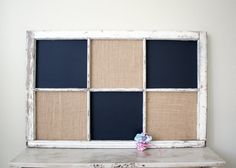 Vintage repurposed window chalkboard and burlap covered by dudads, $65.00