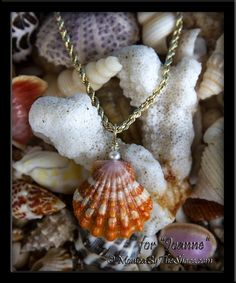"Custom for ""Joanne"", a beautiful deep orange with white Sunrise Shell pendant, with Pearl and Swarovski Crystal, on gold. Mahalo for the honor of creating these jewelry designs for you Joanne, wear with Aloha and a smile!  Hawaiian Sunrise Shells jewelry designs by MonicaByTheShore on the North Shore of Oahu, in Haleiwa, Hawaii. Each unique creation is hand made with Aloha and respect for our Ocean and Earth treasures."