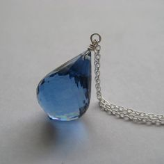 London Blue Topaz Necklace Faceted London Blue by juliegarland, $75.00