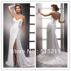 "I LOOOOOVE THIS FREAK""N  DRESS  Luxury Crystal Halter Top Sexy Front Slit Open Back White Chiffon Beach Style Wedding Dress Unique Split Bridal Gowns 2013 $182.99"