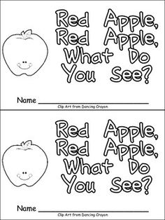 "Red Apple, Red Apple, What Do You See? This emergent reader little book will help young students practice early reading skills, while learning about color words and fruits!! This story uses a predictable pattern, ""Red apple, red apple what do you see?"" to support emerging readers. The following color words are included: red, yellow, pink, green, and purple. $"