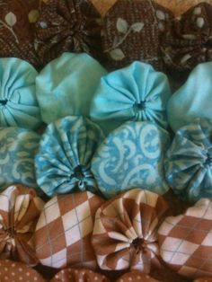 30 fabric yoyo flower, scrapbook embellishment in Aqua and Sandy Brown, kids project, 6 fabrics, 1 1/2 inch via Etsy