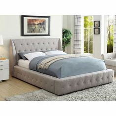 Cambria Grey Upholstered Bed