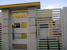 Projeto da Minha Fachada com Muros e Portões!!! E Lindas Inspirações! Driveway Gate, Fence, Gate Design, House Design, Grill Gate, Modern House Facades, Boundary Walls, Casa Clean, Garages