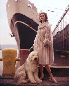 """Model in Elsa Schiaparelli, New York Harbor, 1962"" / sheep dog"