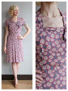 1940s Dress // Daisy Silk Dress // vintage 40s by dethrosevintage