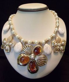 ON SALE! Couture-FASHION-Necklace-Faux-Pearl-FLOWER-Gold-Plate-Designer-STATEMENT  Purchase from http://stores.ebay.com/theglitterbug