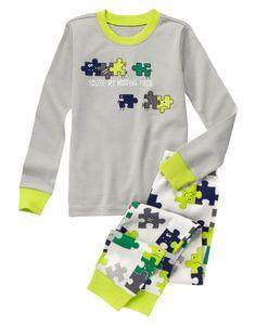 Gymboree Boys 3 4 6 7 Puzzle Piece 2-Piece Cotton Gymmies L/S Pajama Set NWT #Gymboree #PajamaSets